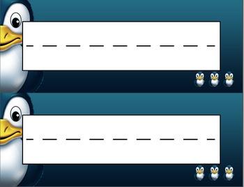 Happy Penguins Desk Name Tag Plates Set