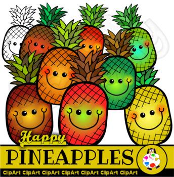 Happy Pineapples - Doodle Clip Art