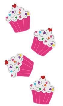 Happy Pink Heart Cupcakes Cut-Outs and Bakery Pattern