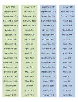 Happy Planner 2017-2018 Dates