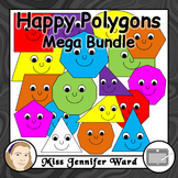 Happy Polygons Clipart MEGA BUNDLE