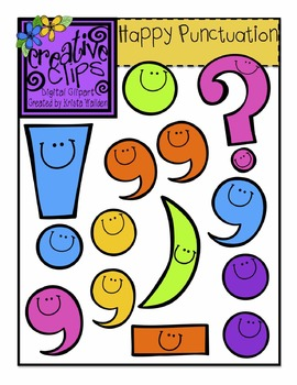 happy punctuation creative clips digital clipart tpt rh teacherspayteachers com punctuation clipart punctuation clipart black and white