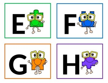 Happy Puzzle Word Wall Letters - Alphabet Flashcards.