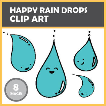 Happy Rain drops Weather Clip Art Set - 8 images