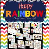 Happy Rainbow Classroom Decor Set (Chevron pattern)