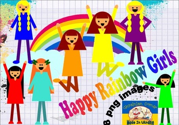 Happy Rainbow Girls// png clipart
