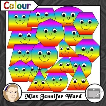 Happy Rainbow Polygons Clipart