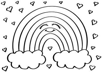 Happy Rainbow Coloring Page By Msgsartroom Teachers Pay Teachers