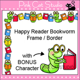 Borders - Happy Reader Bookworm Frame / Border Clip Art - Commercial Use Okay