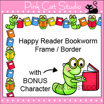 Borders - Happy Reader Bookworm Frame / Border Clip Art - Commercial Use Okay