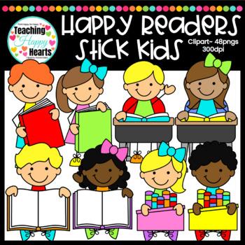 Happy Readers Stick Kids Clipart