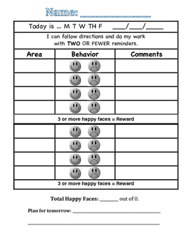 Happy Sad Face 2 Reward Breaks Daily Point Sheet Contract Behavior