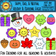 Happy, Sad, and Neutral Holiday Faces Clip Art