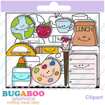 Happy School Supplies Clipart - Digi Stamps - Images Without Faces Included