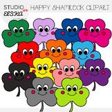 Happy Shamrock Clipart (Studio Elska)