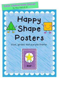 Happy Shape Posters- Blue, Green & Purple Theme
