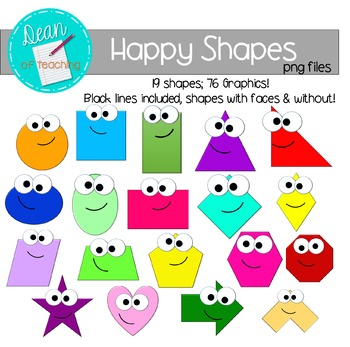 Happy Shapes Clip Art: 2D Shapes FREE