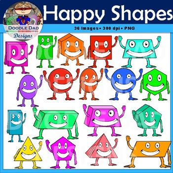Happy Shapes Clip Art (Circle, Square, Cube, Sphere, Triangle, Pyramid)