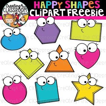Happy Shapes Clipart Freebie {Clipart Freebie}