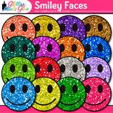 Smiley Face Clip Art   Rainbow Glitter Happy Graphics for Class Decor & Rewards