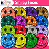 Smiley Face Clip Art {Rainbow Glitter Happy Graphics for B