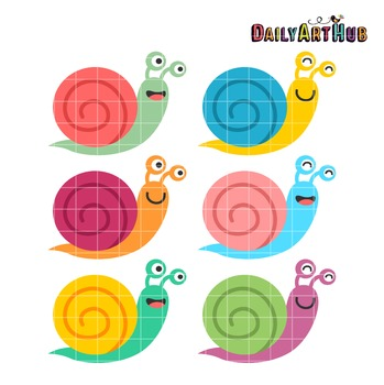 Happy Snails Clip Art - Great for Art Class Projects!