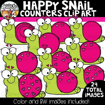 Happy Snails Counters Clipart  {Valentine's Counting Clipart}