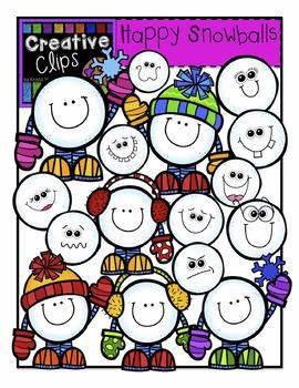 Happy Snowball Clipart {Creative Clips Clipart}