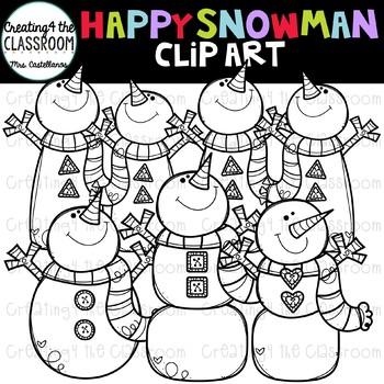 Happy Snowman Clip Art {Snowman Clip Art}
