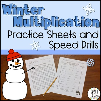 Happy Snowmen Black & White Multiplication Practice Sheets