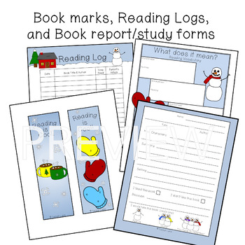 Winter Reading Logs and Book Report Forms