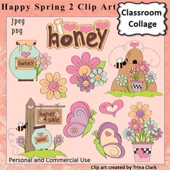 Happy Spring 2 Clip Art   Color  personal & commercial use