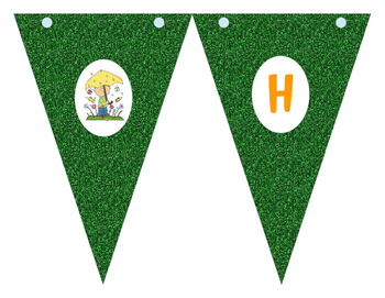 Happy Spring Banner, Cupcake Wrappers and Toppers