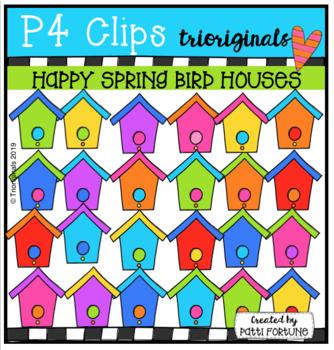 Happy Spring Bird Houses (P4 Clips Trioriginals) SPRING CLIP ART