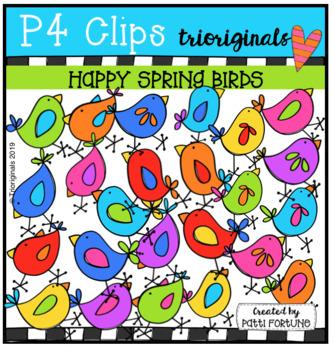 Happy Spring Birds (P4 Clips Trioriginals) SPRING CLIP ART
