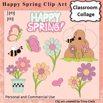 Happy Spring Clip Art  Color  pers & comm use Butterfly Bees Hive Flowers