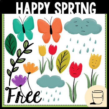 Happy Spring Clipart - Freebie