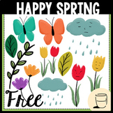 Happy Spring Clipart - Freebie
