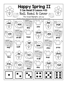Happy Spring - I Can Read It! Roll, Read, and Cover (Lesson 33)
