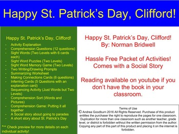 Happy St. Patrick's Day Clifford! Book Packet, Centers, St