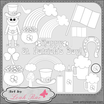 Happy St. Patrick's Day 1 - Art by Leah Rae Clip Art & Line Art / Digital Stamps