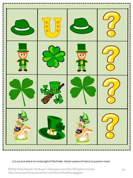 St. Patrick's Day File Folder Games for Centers or Station Activities