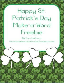 Happy St. Patrick's Day Make-a-Word Freebie