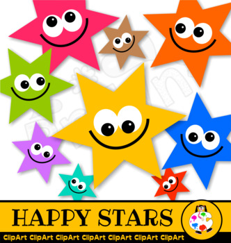 Happy Star Clip Art Award Set