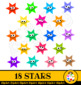 Happy Star Clip Art Award Set
