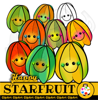 Happy Star Fruit - Doodle Clip Art
