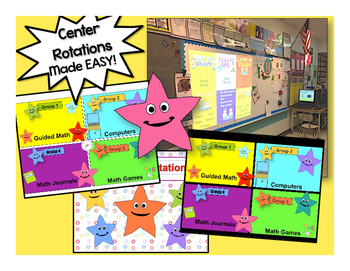 Happy Star Themed Math Stations automated powerpoint for small group math
