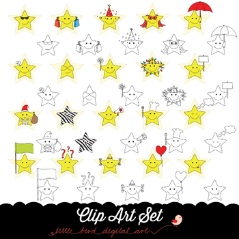 Happy Stars 2 - Clip Art Set - PNG files