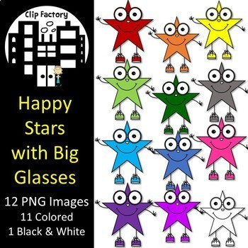 Happy Stars with Big Glasses Clip Art