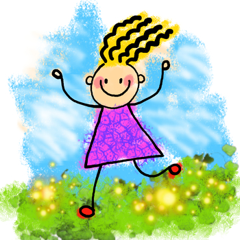 Happy Stick Girl Clip Art Painting